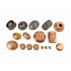 Collection of 17 Copper & Tin Assorted Cake Molds