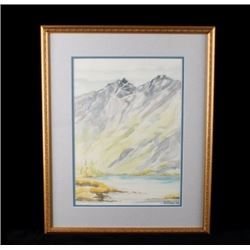 Alice Ryniker '94 Watercolor Mountains & Lake