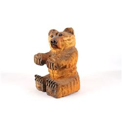 Montana Hand Carved Wooden Sitting Bear Statue