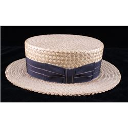 1920's Straw Boater Hat From The Hat Box Butte MT.