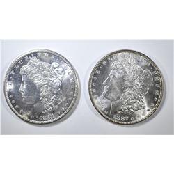 1881-S & 1887 MORGAN DOLLARS CH BU