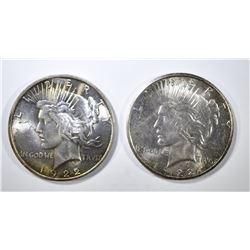 1922-D,S PEACE DOLLARS BU