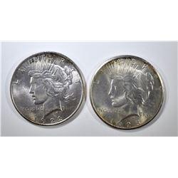 1922 & 25 PEACE DOLLARS BU