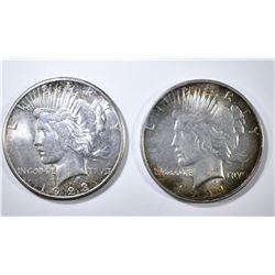 1923-S & 24 PEACE DOLLARS AU/BU