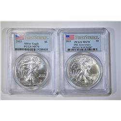 2-2011 SILVER EAGLES, PCGS MS-70 FIRST STRIKES