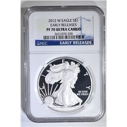 2012-W AM. SILVER EAGLE, NGC PF-70 ULTRA CAMEO
