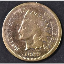 1869 INDIAN CENT  VG   OLD CLEANING