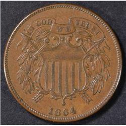 1864 2-CENT PIECE ORIG BROWN UNC