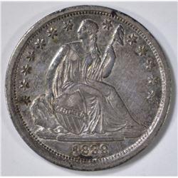 1839 SEATED DIME  CH AU UNC