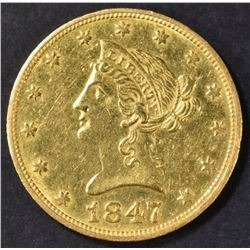 1847-O $10 GOLD LIBERTY  NICE BU  OLD CLEANING