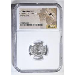AD 198-217 CARACALLA  AR DENARIUS NGC AU
