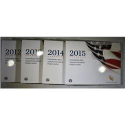 2012-2015 U.S. MINT ANNUAL UNCIRC DOLLAR COIN SETS