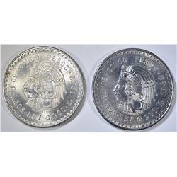 1947 & 1948 MEXICO 5 SILVER PESOS