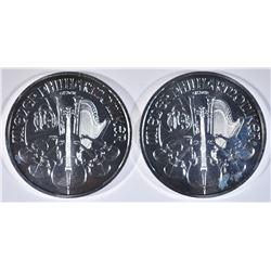 2-2014 ONE oz SILVER AUSTRIA PHILHAMONIC COINS