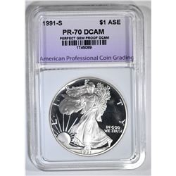 1991-S AM SILVER EAGLE APCG PERFECT GEM PROOF DCAM