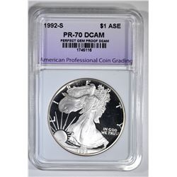 1992-S AM SILVER EAGLE APCG PERFECT GEM PROOF DCAM