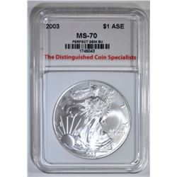 2003 AMERICAN SILVER EAGLE, TDCS PERFECT GEM BU