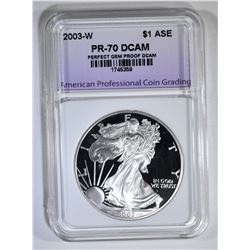 2003-W AM SILVER EAGLE APCG PERFECT GEM PROOF DCAM
