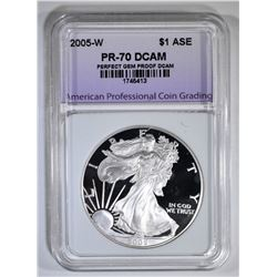 2005-W AM SILVER EAGLE APCG PERFECT GEM PROOF DCAM