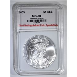 2009 AMERICAN SILVER EAGLE, TDCS PERFECT GEM BU