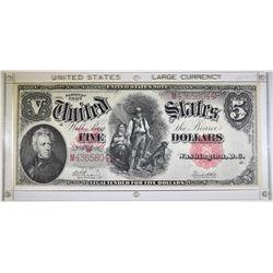 """1907 $5 LEGAL TENDER """"WOOD CHOPPER"""" AU/CU"""