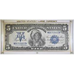 """1899 $5 SILVER CERTIFICATE """"CHIEF"""" XF"""