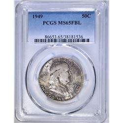 1949 FRANKLIN HALF DOLLAR, PCGS MS-65 FBL