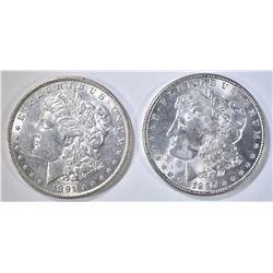 1887 CH BU & 91 BU MORGAN DOLLARS