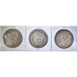 1890-S, 92-O & 96-O CIRC MORGAN DOLLARS
