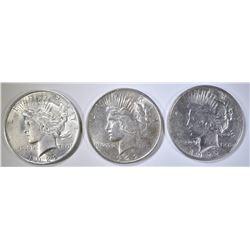 3-UNC 1922 PEACE DOLLARS