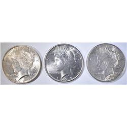 1922, 23 & 25 AU PEACE DOLLARS