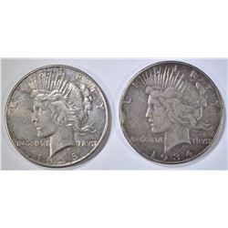 1934-S VF & 1935 AU PEACE DOLLARS