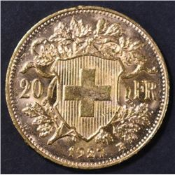 1927 SWISS 20 FRANC GOLD COIN
