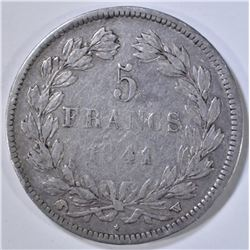 1841 5 FRANCS FRENCH COIN