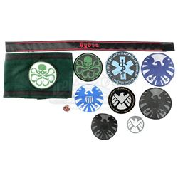 Lot #78 - Marvel's Agents of S.H.I.E.L.D. - Collection of S.H.I.E.L.D. Patches and Hydra Accessories