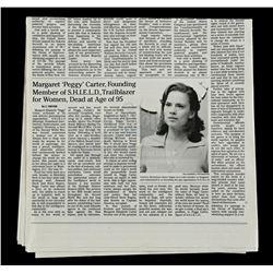 Lot #178 - Marvel's Agents of S.H.I.E.L.D. - Agent Peggy Carter's Newspaper Obituary
