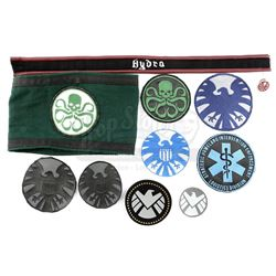 Lot #214 - Marvel's Agents of S.H.I.E.L.D. - Collection of S.H.I.E.L.D. Patches and Hydra Accessorie