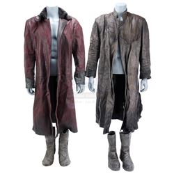 Lot #299 - Marvel's Agents of S.H.I.E.L.D. - Bloodied Red Kree Guard Coat and Gray Kree Coat with Tw