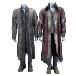 Lot #345 - Marvel's Agents of S.H.I.E.L.D. - Red Kree Coat and Gray Kree Coat with Two Pairs of Boot