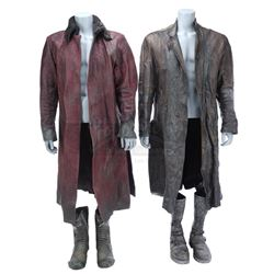 Lot #393 - Marvel's Agents of S.H.I.E.L.D. - Red Kree Coat and Brown Kree Coat with Two Pairs of Boo
