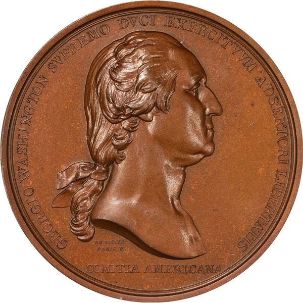 """1776"" (1860) Washington Before Boston Medal. Baker-49. Third Restrike. Plain Edge. Dark Bronze."