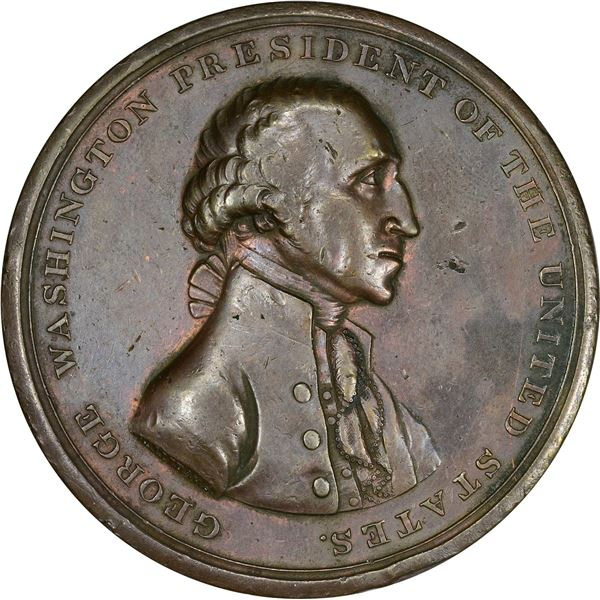 """1797"" (Early 1800s) Halliday Medal. Washington Presidency Relinquished Medal. Baker-70C. Bronze. VF"