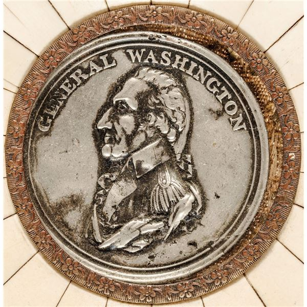 Circa 1790-1815 George Washington Portrait Shell Medallion. White Metal. Set in a Bone or Horn Frame