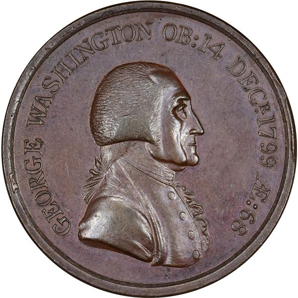 1800 Washington Hero of Freedom Medal. Baker-79B. Bronze. AU, nearly as made. Overstruck on 1797 Geo