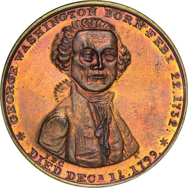 1799 (1860s) Washington Ugly Head Medal. Baker-89A. Copper. Proof.