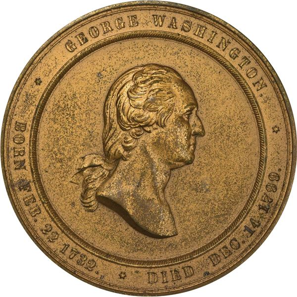 1860 Washington Cabinet of Medals, U.S. Mint Medal. Baker-326B. Yellow Bronze. EF