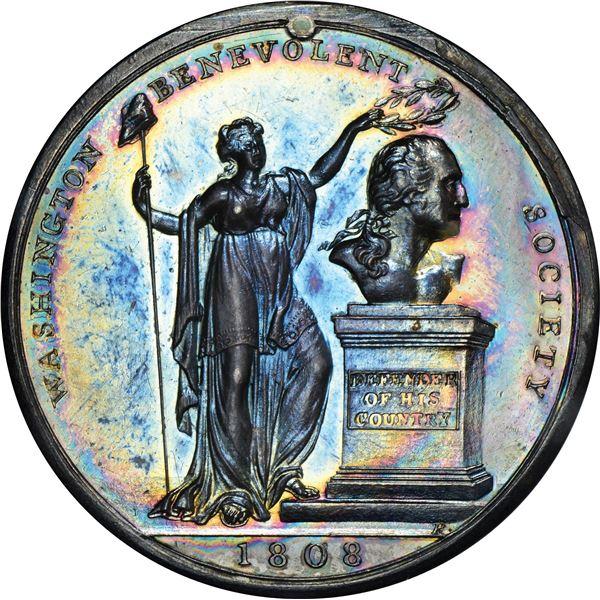 1808 Washington Benevolent Society Medal. Baker-327. Silver. AU