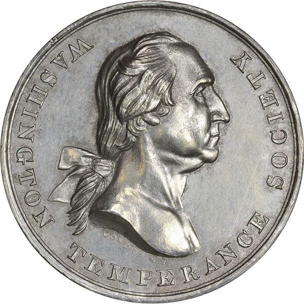 Undated Washington Temperance Society Medal. Baker-328B. White Metal. EF