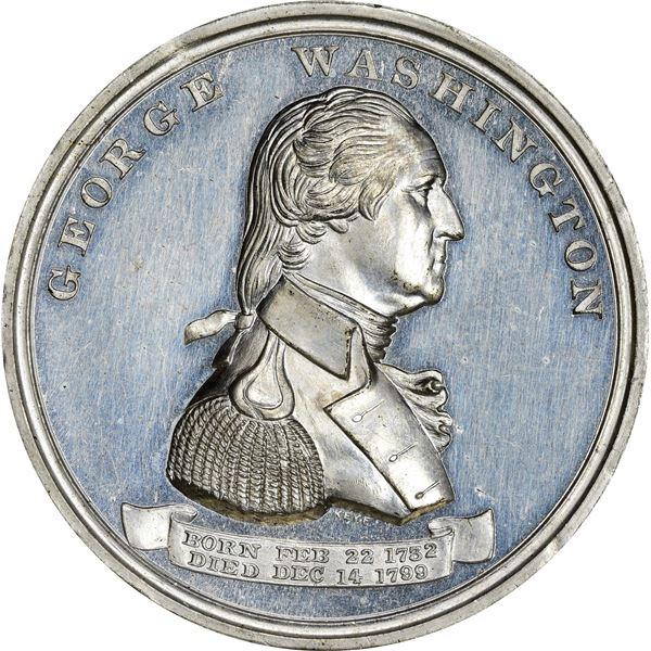 Circa 1850-1860 Washington Reward of Merit Medal. Baker-354A. White Metal.