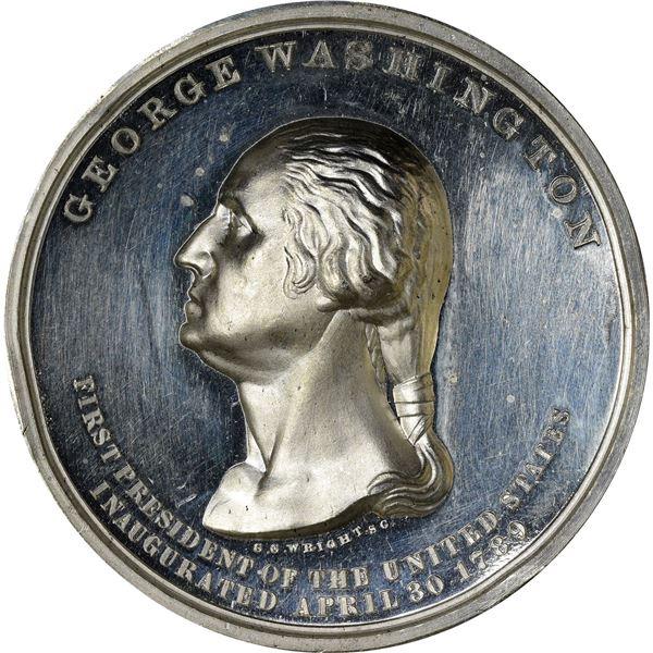 Washingtoniana. Impressive Threesome of White Metal Washington Medals.